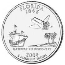Moedas Estados Unidos Quarter Dolar 2004 Florida Fc