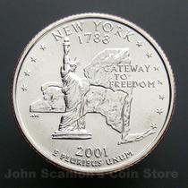 Moedas Estados Unidos Quarter Dolar Nova York 2001 Fc