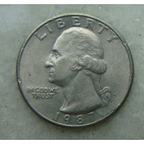 289 Eua - Quarter Dollar 1987 Letra D - Serrilha 24mm