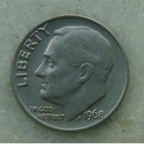 759 - Usa One Dime Liberty 1968, Sem Letra - Tocha 18mm