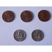 Lote 5 Moedas One Cent / One Dime