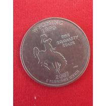 Moeda Usa Quarter Dollar Estados Americanos Wyoming Letra P