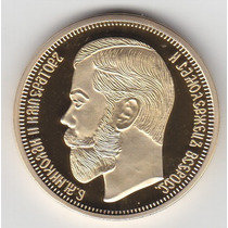 Moeda/medalha Russia 1901 40 Mm 29 Gr Banho Ouro 24k R$38,00