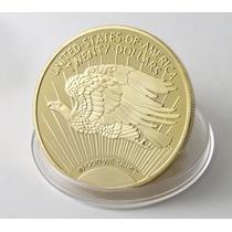 Moeda 20 Dollars Banho Ouro 24k 40 Mm 28,5 Gr. R$ 59,00