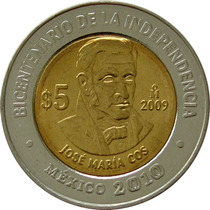 México - 5 Pesos 2009 (jose Maria Cos)