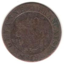 Moeda Guyana Francesa (y) - 1818 A 10 Cent Antiga E Rara