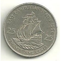 Caribe Estados Do Leste ( East ) - 25 Cents 1996