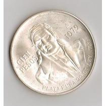 Linda E Grande Moeda De Prata Mexico 100 Pesos 1979