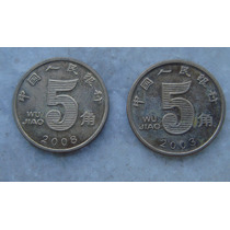 2994 - China Moeda 2 Moedas 5 Wu Jiao 2003,2008, 20mm