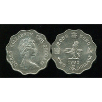 01 Moeda De Hong Kong 2 Dolares 1975 Rainha Elizabeth 2 Fc