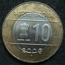 Moedas - Índia - 10 Rupees 2006 - Fc - Bimetálica