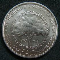 Moedas - Jordânia - Quarter Dinar 1969 (fao) - Fc