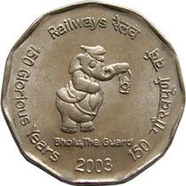 Moeda Comemorativa Da India 2 Ruppes, Elefante 2003 Fc