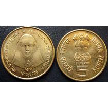 Moeda India 5 Rupees 100 Anos Da Santa Alphonsa 2009 Fc