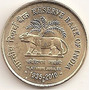 Moeda India 5 Rupees Jubileu Do Tigre 2010 Fc