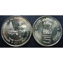 Moeda India 5 Ruppes 1000 Anos Do Templo Brihadeeswarar Fc
