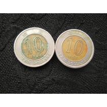 2 Moedas De Hong Kong 10 Dolares 1994 E 1995 Bimetal