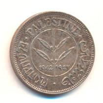 Palestina: Prata - Bela Moeda 50 Mils 1942 S/fc