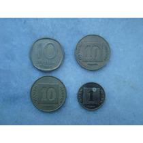 2987 Israel 4 Moedas 1 E 10 Agorot - Bron/alum 21mm, 17mm