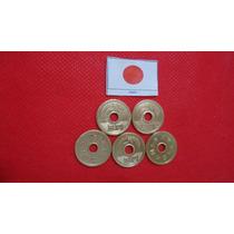 5 Moedas De 5 Yen Com Furos - Originais -.novas!!!