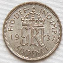 Bela Moeda Inglesa. 6 Pences. Ano 1937.