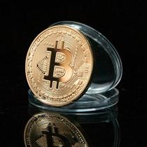 Bitcoin Moeda Fisica Comemorativa Banhada A Ouro 24k