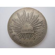 México Moeda Prata 8 Reales 1867 Ch