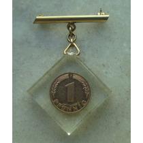 1277 Alemanha - 1 Pfennig 1950 F - No Acrilico Feito Medalha