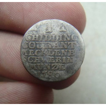 Alemanha Macklenburg Shwerin 1 Schilling 1780, Prata, 12mm