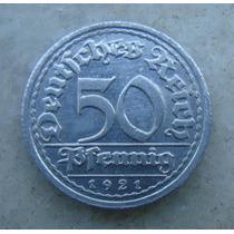5314 Alemanha - 50 Pfennig 1921 G - Karlsruhe 23 Mm