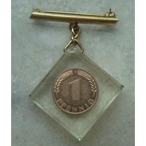 1220 Alemanha - 1 Pfennig 1950 F - No Acrilico Feito Medalha