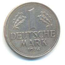 1 Deutsche Mark - Alemanha - 1974-j - Possuo Outras Moedas!