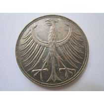 Alemanha Moeda Prata 5 Deutsche Mark 1960 F