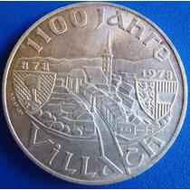 Austria Moeda Prata 100 Shilling -1978-1.100 Anos Villach