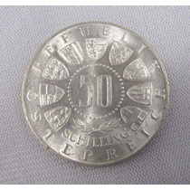 Austria Moeda De Prata 50 Shillings 1963 - Fc