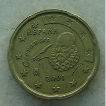 1185 - Espanha - 20 Cents Euro 2001 - Brom/alum - 22mm