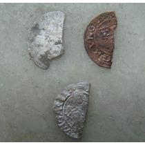 4246 - Fragmentos Tres Moedas Medievais Prata 15,16 E 17 Mm