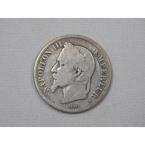 Moeda Prata França. Ano 1867. 2 Francos