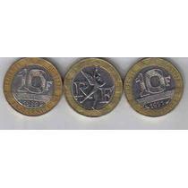 França - 3 Moedas De 10 Francos Bimetálicas - 1.989-90-91