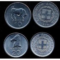 Lote 2 Moedas Da Grécia 10 E 20 Lepta 1976 Todas Fc