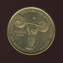 Moeda Grécia Levantamento De Peso 100 Drachmas 1999 30 Mm