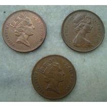 1187 Inglaterra 3 Moedas Two Pence 1997, 88, 71 Bronze 26mm