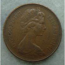 1051 Inglaterra 1971 Two Pence 26mm - Bronze Elizabeth