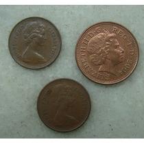 Inglaterra 1/2 New Penny, One Penny 3 Moedas Ver Datas, Br