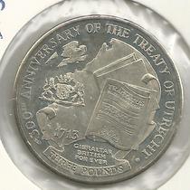 3 Pounds - Gibraltar - 2013 - 300 Anos Do Tratado De Utrecht