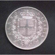 Moeda Prata 5 Liras Itália 1874 Soberba
