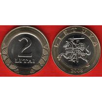 Moedas Da Lituânia 2 Litas 2008 Fc Bimetalica