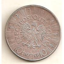 Escassa Moeda De Prata Da Polonia De 10 Zlotych Ano 1935