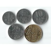 Lote 5 Moedas Da Moldavia - 1 A 50 Bani Fc