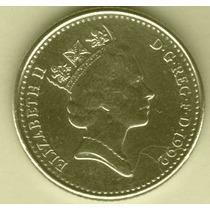 Moeda Inglaterra 10 Pence Elizabeth Ll Níquel 1992